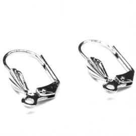 oorbel klap-oorhaak met oogje NPL zilver lelie per paar (AB2309)