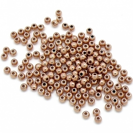 DQ metaal ROSE GOUD kraal 2,7x2,7mm gat 1mm (B01-033-RG) - 25 stuks