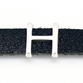 DQ metaal schuifkraal voor 10mm breed leer - letter H - maat 12x14mm - gat 2,5x10mm (B04-075-AS)