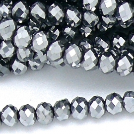 glaskraal rondel facet 6x8mm kleur metalic white (BGK-006-008) - 35 stuks
