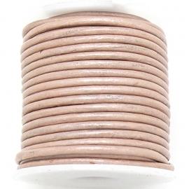 DQ rond leer 2mm - 1 meter - kleur SANDY PEARL (BRL-02-40)