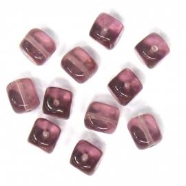glaskraal amethyst vierkant 6x7mm (BJP002) - 15 stuks