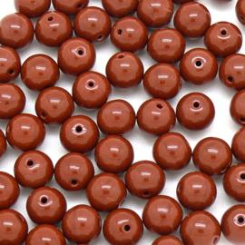 (BJBR-031) glaskraal rond 8mm opaque rood- donkerbruin  - 10 stuks