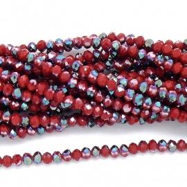 glaskraal rondel facet 4x6mm - streng van ongeveer 100 kralen (BGK-005-022) kleur red diamond coating
