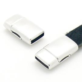 DQ metaal magneetsluiting voor 10mm plat leer, gat 10x2.5mm (B07-113-AS)