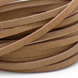 DQ leren band smal 5mm - 2,2 dik circa 100cm lang - kleur buffel naturel (PL05-002)