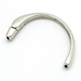 DQ metaal halve armband voor 5mm leer maat armband 35x55mm (gat 2x5mm) (B08-012-AS)