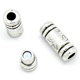 DQ metaal magneetsluiting bewerkte tube - maat 10x25mm - gat 5,2mm (B07-121-AS)