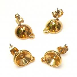 DQ metaal oorbel oorsteker met oogje voor ss39 per paar (B05-032-SG)