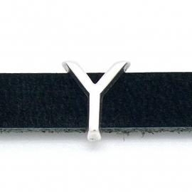 DQ metaal schuifkraal voor 10mm breed leer - letter Y- maat 12x14mm - gat 2,5x10mm (B04-092-AS)