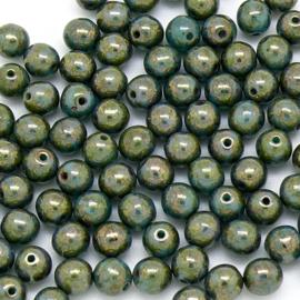 (BJG-046) glaskraal rond 6mm Luster Turquoise Topaz GreenGold  - 18 stuks
