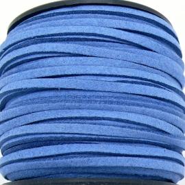 imitatie suede veter 3mm breed - 2m lang - kleur jeans (BSL-3-14)