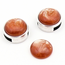 polariscabochon pearl 12mm - kleur shine salmon (CAB-12-032)