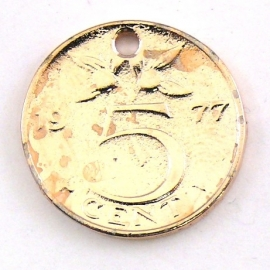 DQ metaal ROSE GOUD bedel munt 5 cent 20mm (M7335)
