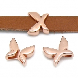 DQ metaal ROSE GOUD schuifkraal vlinder voor 10mm breed leer (gat 2,5x10mm) (B04-006-RG)