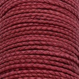 DQ 3mm rondgevlochten soft leather- kleur vintage raspberry pink - 20cm (BRGL-3-01)