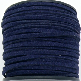 imitatie suede veter 3mm breed - 2m lang - kleur dark blue (BSL-3-01)