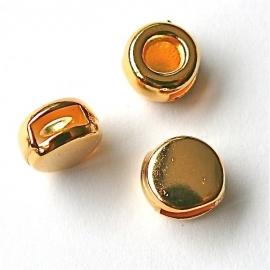 DQ metaal GOLD schuifkraal rond voor 6mm breed leer (B04-032-SG)