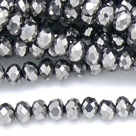 glaskraal rondel facet 6x8mm kleur zilver metalic (BGK-006-007) - 35 stuks