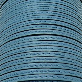 soepele lederen band smal 5mm - dik 2mm - kleur caribean blue gestikt - 20cm (PL05-033)