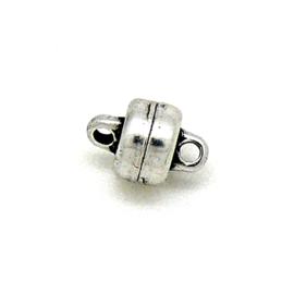 DQ metaal magneetsluiting Plat Rondje met 2 oogjes maat 5,3x6,8mm (B07-131-AS)