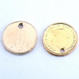 DQ metaal ROSE GOUD bedel munt 1 cent 15mm (B02-023-RG)
