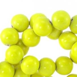 houten kraal 6mm fluor geel (BK9265) 25 stuks