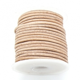 DQ rond leer 3mm - 1 meter - kleur NATURAL (no. 03/24)
