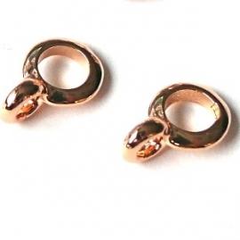 DQ metaal ROSE GOLD ring rond met oogje 7x10mm gat 4mm (B05-022-RG)
