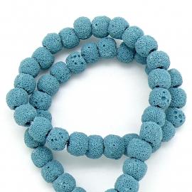 kraal van zandlava rond 8mm kleur blauw - 4 stuks