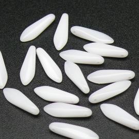 (BJW053) glaskraal langwerpige tand 4x15mm - gat bovenin dwars - kleur wit  - 5 stuks