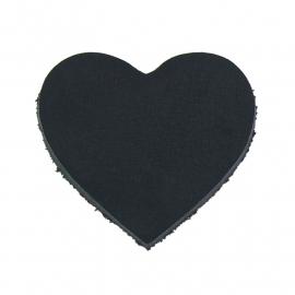 DQ leather gestanste hart 45x55mm - dik 4,5mm kleur buffel zwart (ST-HART-001)