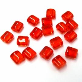glaskraal vierkant met afgeronde hoeken 8mm oranje/rood (BJ401)