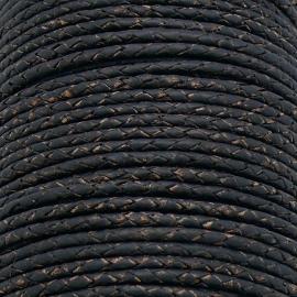 DQ 3mm rondgevlochten soft leather- kleur vintage black - 20cm (BRGL-3-10)