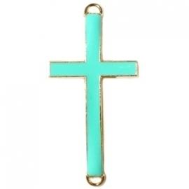 GOUD Tussenzetsel kruis 23x46mm kleur medium diep turquoise groen (BK15989)