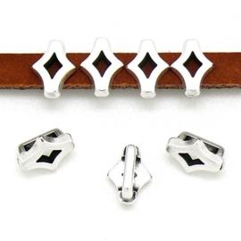DQ metaal schuifkraal spaans tegel Rhombus motief voor 5mm plat leer - maat 6.4x9.1mm - gat 2,5x5.2mm (B04-194-AS)