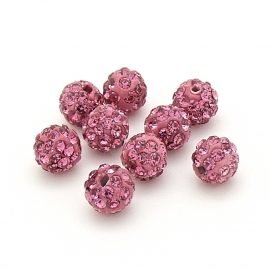 origine shamballa kralen 6mm rond gat 1mm kleur rose (SH-06-05)