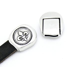 DQ metaal magneetsluiting voor 10mm plat leer franse lelie - maat 18.2x20.8mm - gat 2x10mm (B07-123-AS)