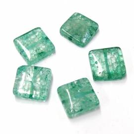 (BJG-010) glaskraal plat vierkant groen crackle 15mm - 10 stuks