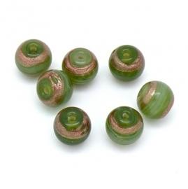 (BJG-025) glaskraal rond 11mm kleur groen met gouden lijnen - 5 stuks