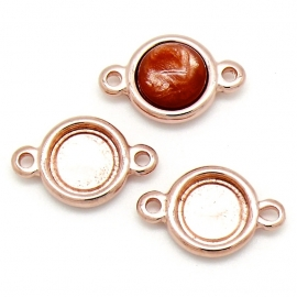 DQ metaal ROSE GOLD tussenzetsel setting voor polaris cabochon maat 11,5mm (B03-047-RG)