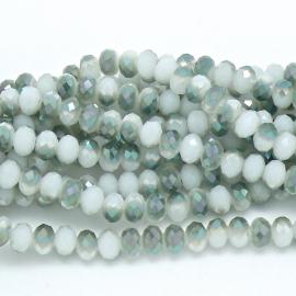 glaskraal rondel facet 6x8mm - streng van ongeveer 72 kralen (BGK-006-021) kleur milky white diamond coating
