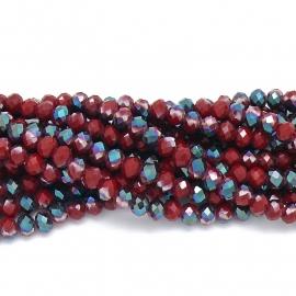 glaskraal rondel facet 6x8mm - streng van ongeveer 72 kralen (BGK-006-025) kleur red dark brown diamond coating