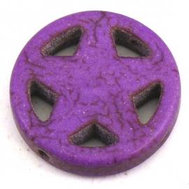 BJ322 keramiek kraal rond 20mm sherrifstar kleur paars