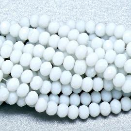glaskraal rondel facet 4x6mm - streng van ongeveer 100 kralen (BGK-005-019) kleur opaque white
