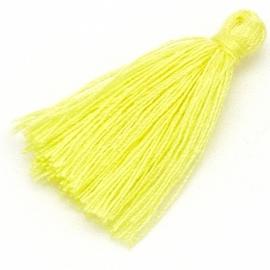 kwastje satijn lengte circa 30mm kleur yellow (KW-30-018)