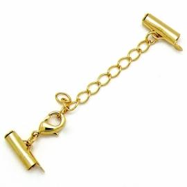 verlengketting Gold Plated met eindkap voor 2mm kraaltjes/ballchain 12mm breed (AB67381)