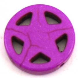 BJ326 keramiek kraal rond 20mm sherrifstar kleur felpaars