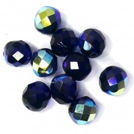 (BJBL-014) glaskraal rond facet geslepen 8mm cobaltblauw AB  - 10 stuks