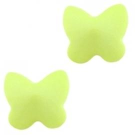 kraal vlinder acryl 11x12mm kleur lime groen (BK15513) - 5 stuks